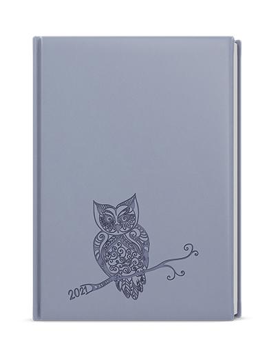 Denní diář - Adam - vivella s ražbou - B6 - holubí šeď- Sova, BALOUŠEK, BDA61-15