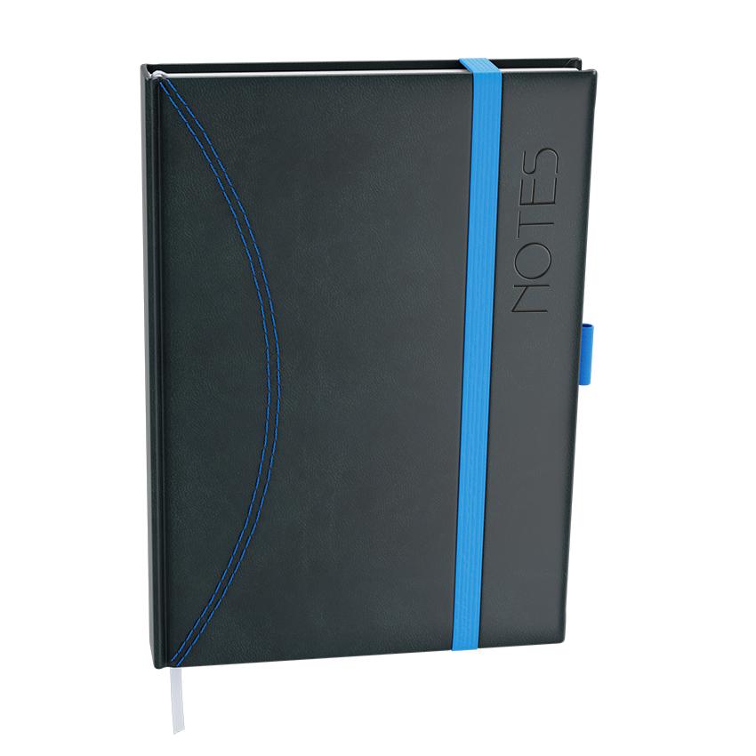 Notes linkovaný A6 - nero - černá-světle modrá