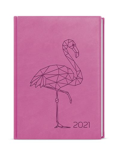 Denní diář - Adam - vivella s ražbou - B6 - růžová - Plameňák, BALOUŠEK, BDA61-51