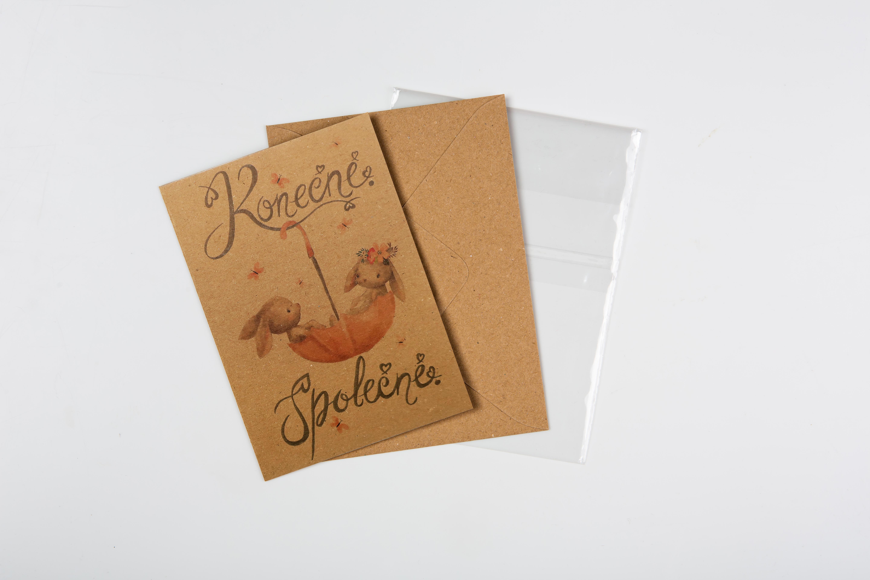 Přáníčko BeBechy - recyklovaný papír - Konečně