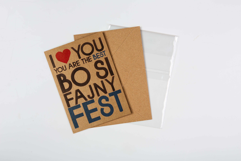 Přáníčko BeBechy - recyklovaný papír - Si fajny