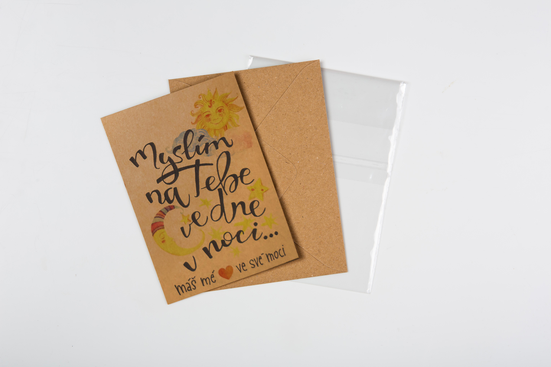 Přáníčko BeBechy - recyklovaný papír - Myslím