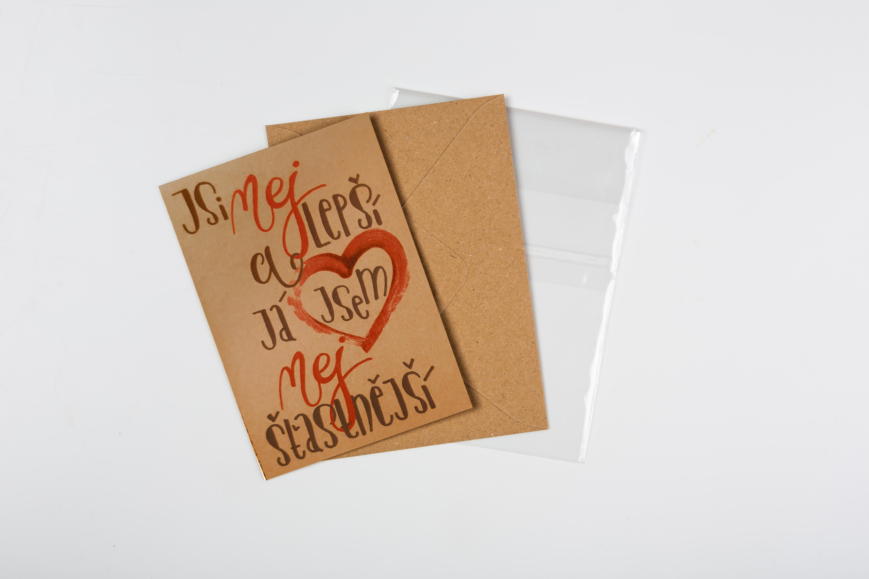 Přáníčko BeBechy - recyklovaný papír - Jsi nej