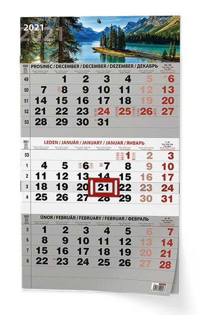 Nástěnný kalendář A3 - Tříměsíční - s mez. svátky - černý Příroda, BALOUŠEK, BNC7