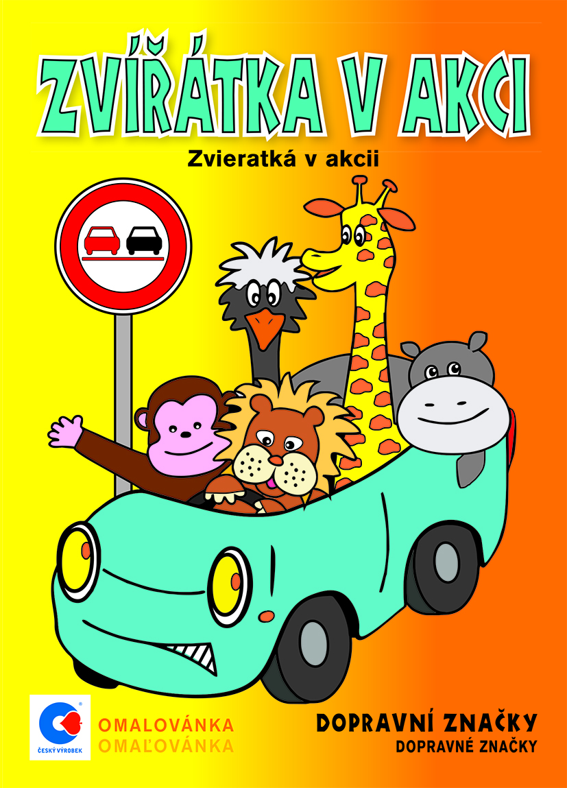 Omalovánka A5 - Zvířátka v akci - dopravní značky