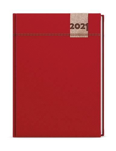 Denní diář - David - denim - A5 - červená, BALOUŠEK, BDD19-6