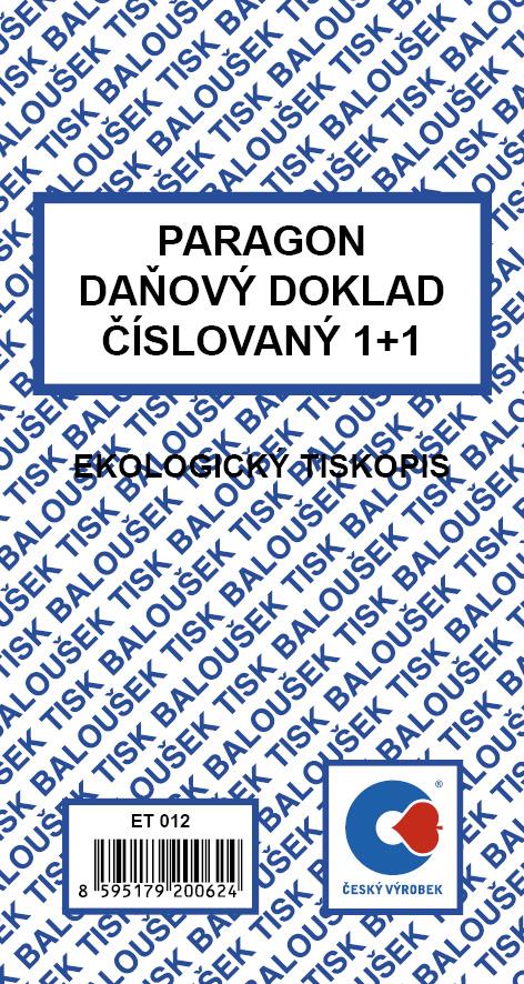 Paragon, 80x150mm, daňový doklad číslovaný, 1+1, 50 listů, BALOUŠEK, ET012