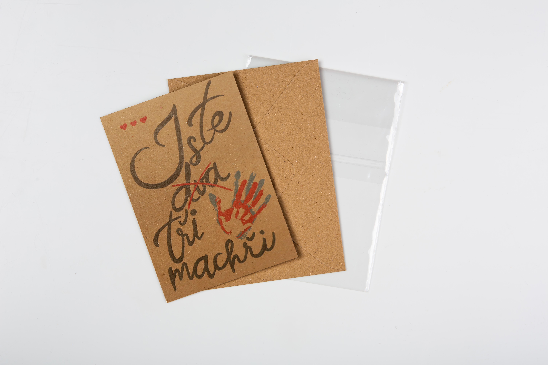 Přáníčko BeBechy - recyklovaný papír - Machři