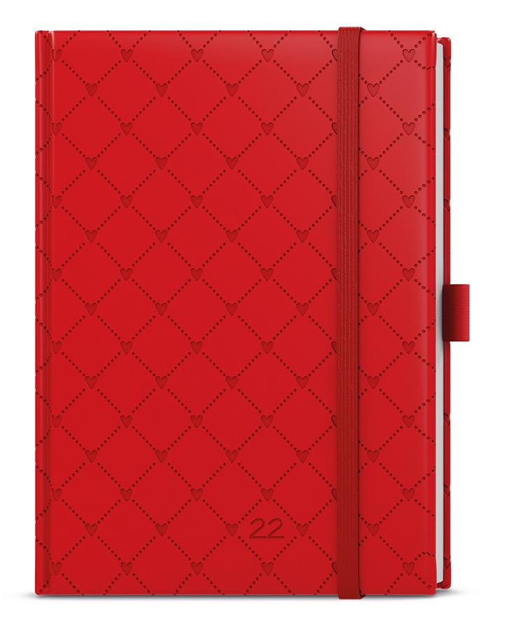Denní diář - Adam - vivella extra - B6 - červená - Srdce