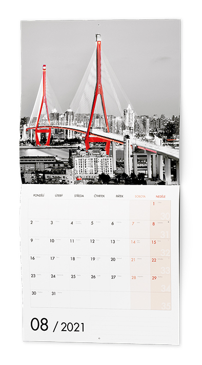 Nástěnný kalendář - Poznámkový - Black & Red