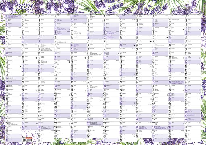 Nástěnný roční kalendář - Levandule, 600x420mm, BALOUŠEK, BKA1