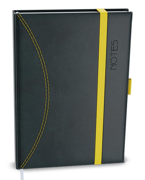 Notes linkovaný A6 - nero - černá-žlutá