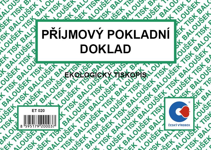 Příjmový pokladní doklad A6, 50 listů, BALOUŠEK, ET020