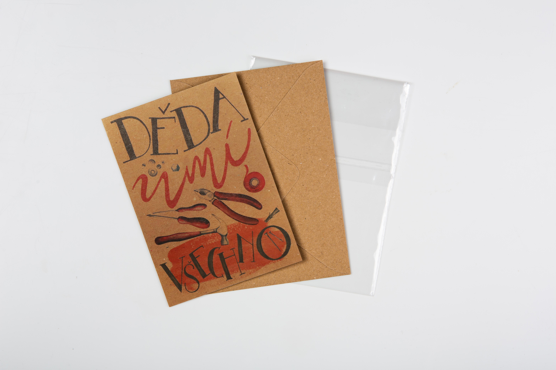 Přáníčko BeBechy - recyklovaný papír - Děda