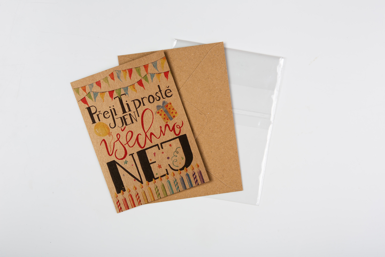 Přáníčko BeBechy - recyklovaný papír - Nej