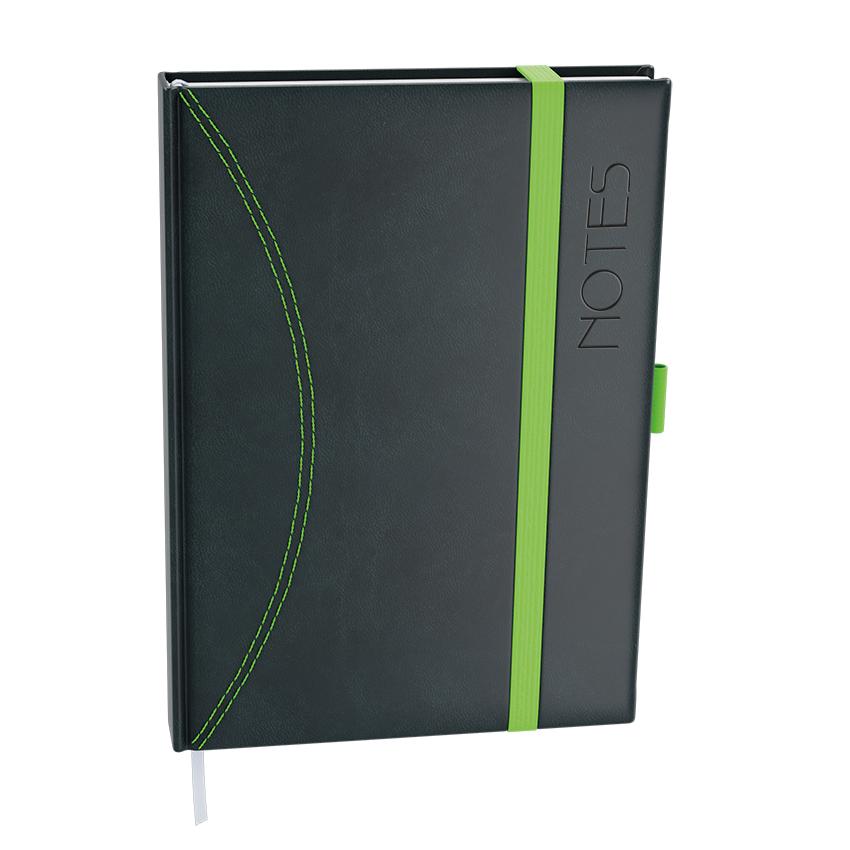 Notes linkovaný A5 - nero - černá-zelená