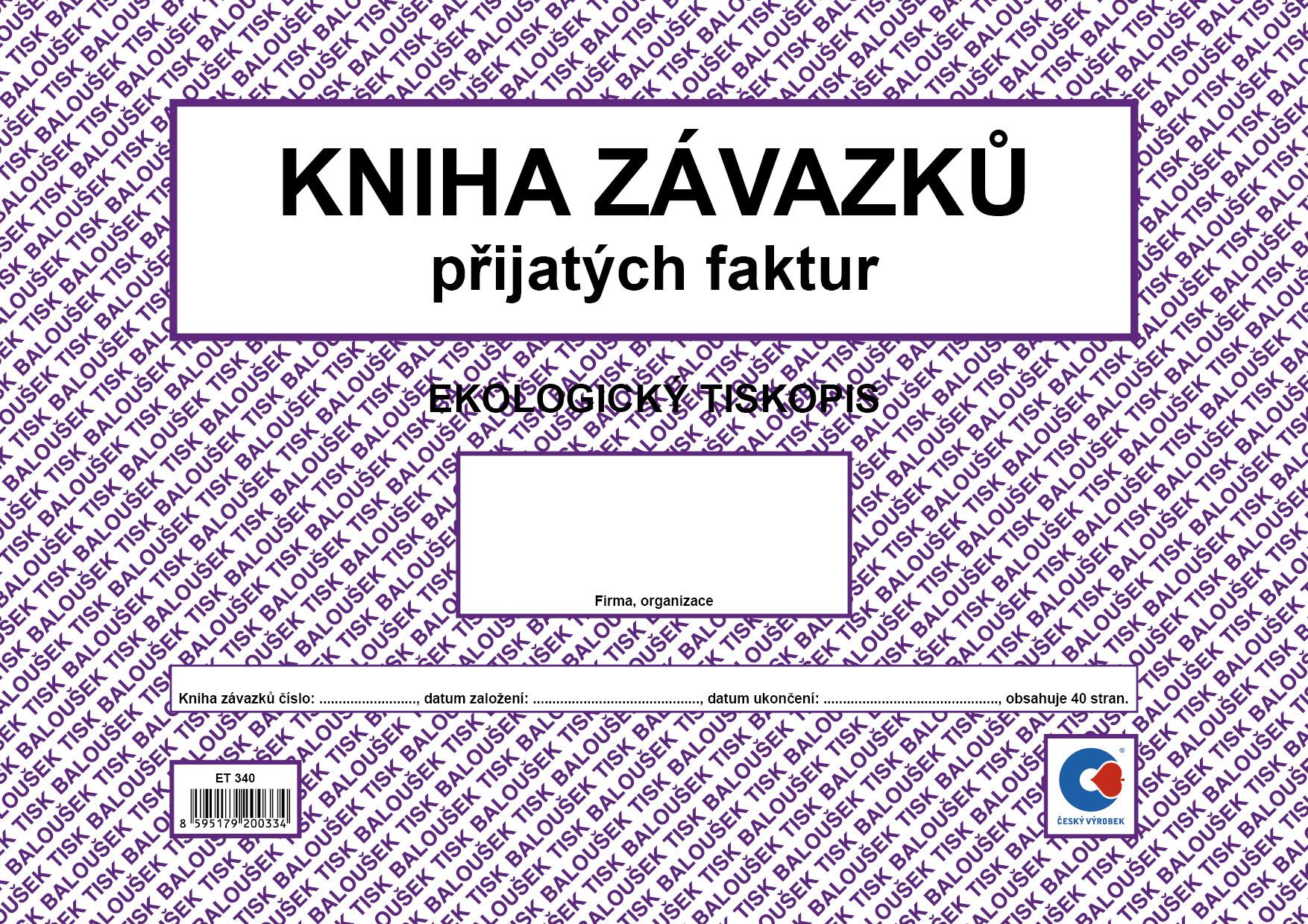 Kniha závazků A4, došlých faktur, oboustranný, 40 stran, BALOUŠEK, ET340
