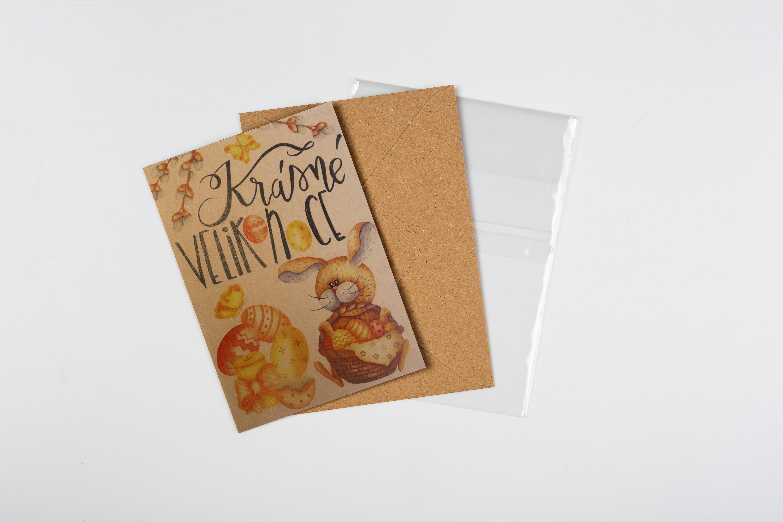 Přáníčko BeBechy - recyklovaný papír - Zajíc