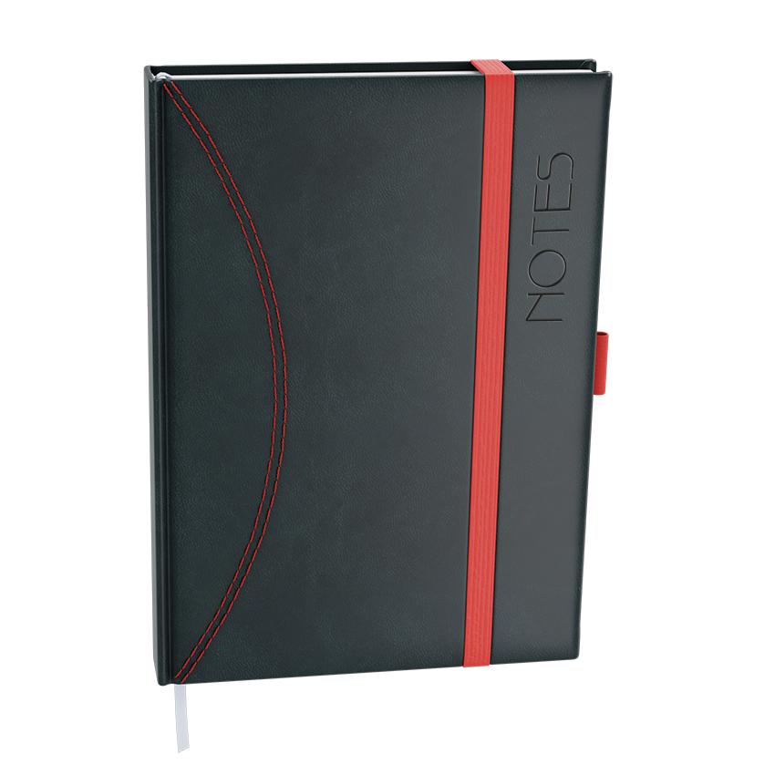 Notes linkovaný  A5 - nero - černá-červená