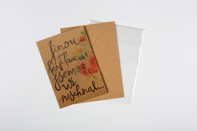 Přáníčko BeBechy - recyklovaný papír - Kytka