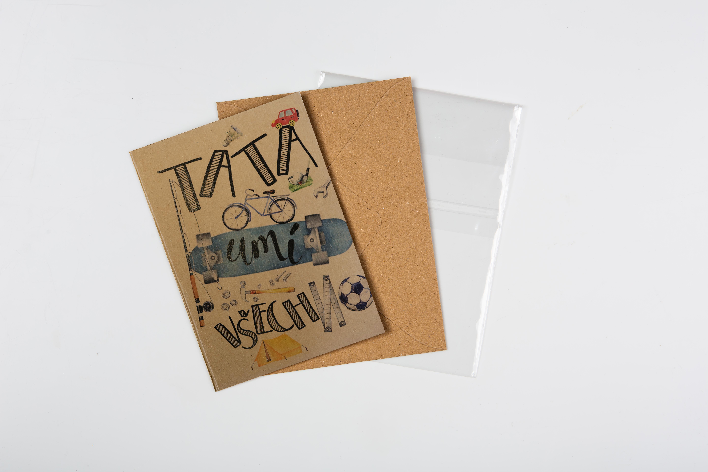 Přáníčko BeBechy – recyklovaný papír – Táta