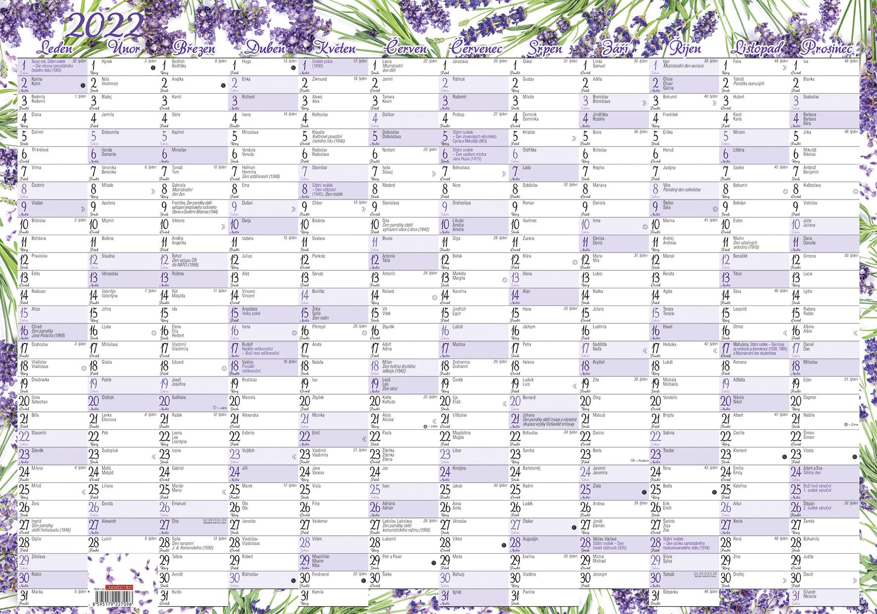 Nástěnný roční kalendář (600x420 mm) - Levandule