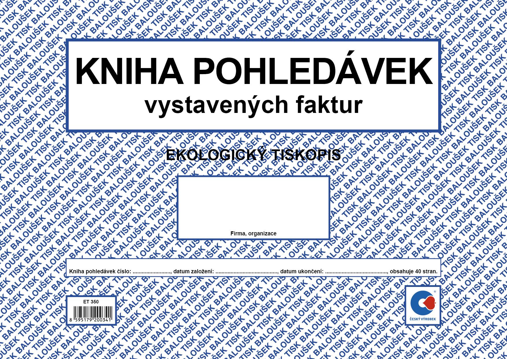 Kniha pohledávek A4, vystavených faktur, oboustranná, 40 stran, BALOUŠEK, ET350