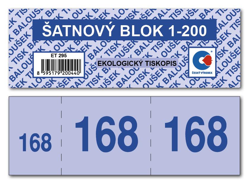 Šatnové bloky 1-200 čísel, 135x47mm, 4 barvy, BALOUŠEK, ET295