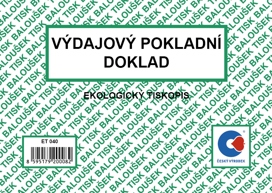 Výdajový pokladní doklad A6, 50 listů, BALOUŠEK, ET040