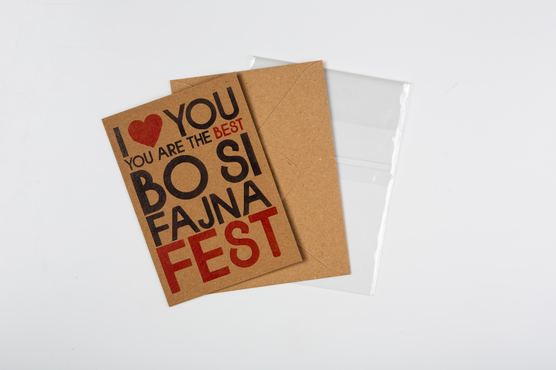 Přáníčko BeBechy - recyklovaný papír - Si fajna