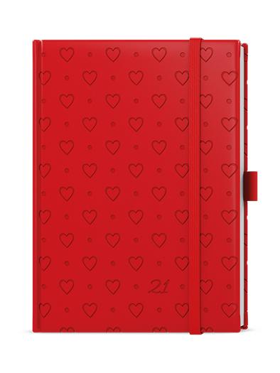 Denní diář - Adam - vivella extra - B6 - červená - Srdce, BALOUŠEK, BDA62-6