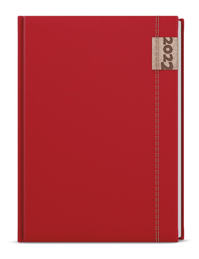 Týdenní diář - Oskar - denim - A5 - červená