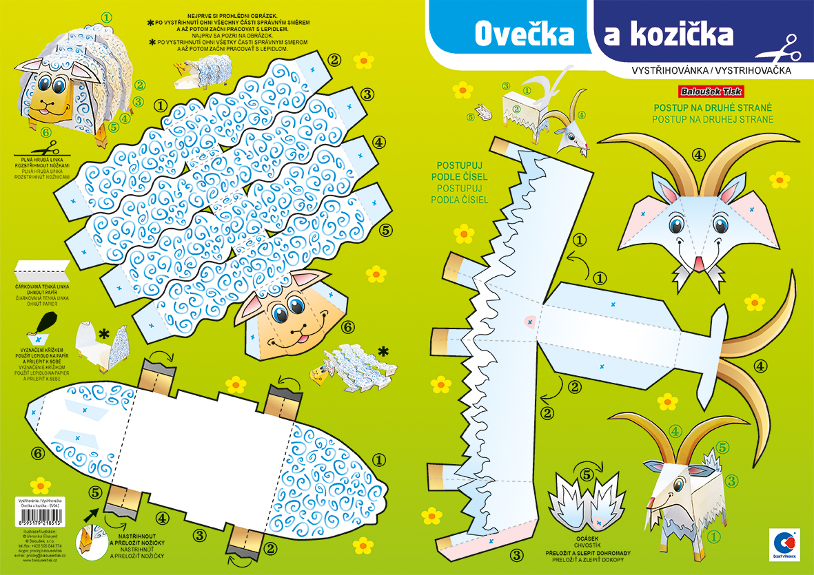 Vystřihovánka - Ovečka a kozička