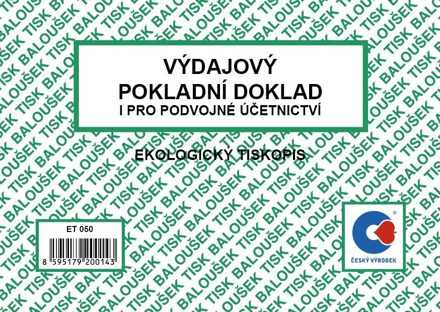 Výdajový pokl.dokl. i pro pod.účet. A6, 50 listů, BALOUŠEK, ET050