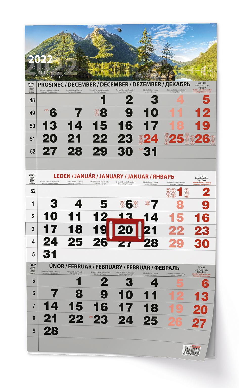 Nástěnný kalendář A3 - Tříměsíční - s mez. svátky - černý Příroda