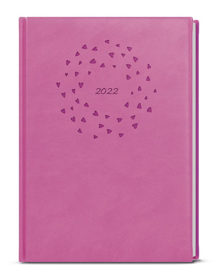Týdenní diář - Prokop - vivella s ražbou - B6 - růžová - Srdíčka