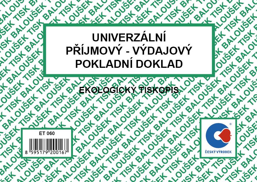 Universální příjm.-výd. pok.doklad A6, 50 listů, BALOUŠEK, ET060