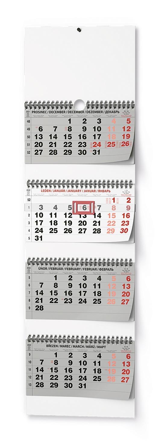 Nástěnný kalendář - Čtyřměsíční  skládaný - s mez. svátky