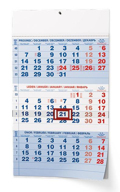Nástěnný kalendář A3 - Tříměsíční - s mez. svátky - modrý, BALOUŠEK, BNC1