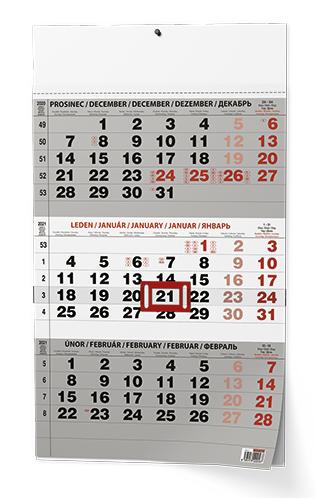 Nástěnný kalendář A3 - Tříměsíční - s mez. svátky - černý, BALOUŠEK, BNC0