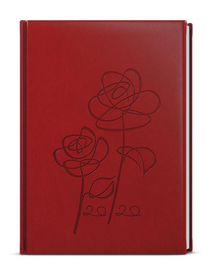 Denní diář - Adam - vivella s ražbou - B6 - bordó - Růže
