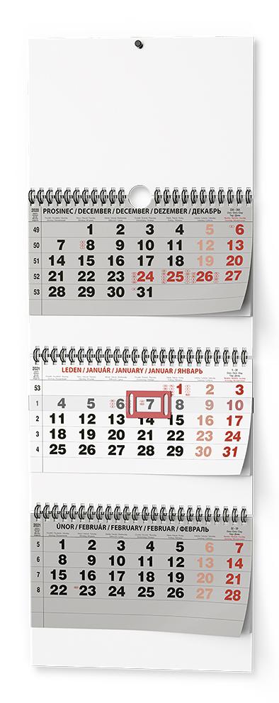 Nástěnný kalendář - Tříměsíční skládaný - s mez. svátky, BALOUŠEK, BNC5