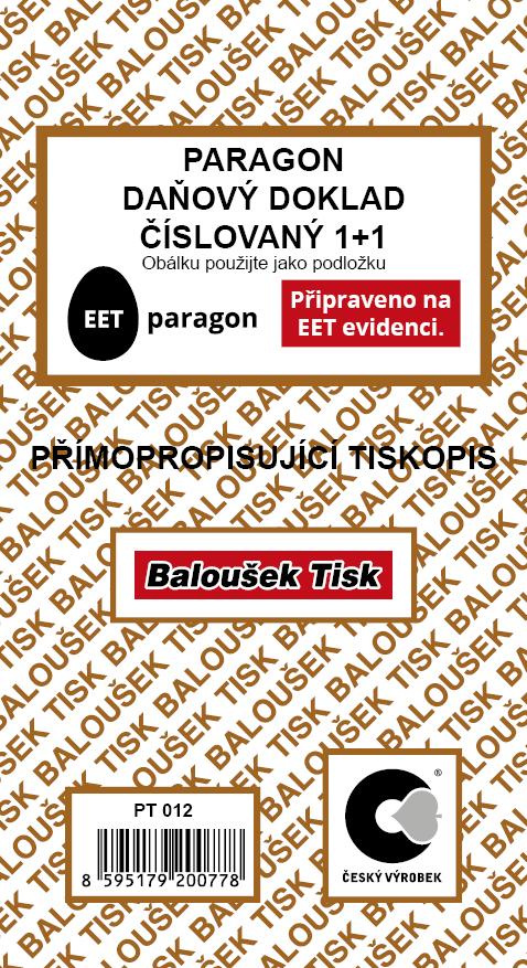 Paragon - daňový doklad číslovaný - EET