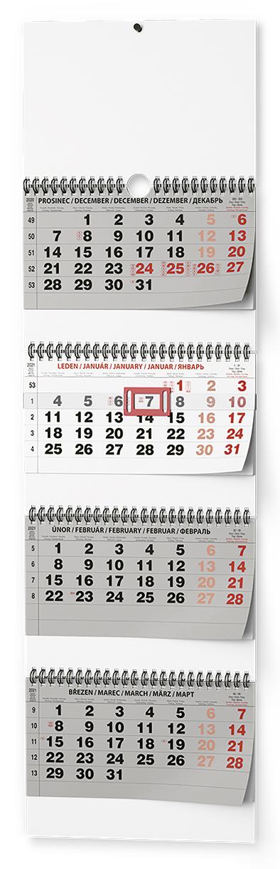 Nástěnný kalendář - Čtyřměsíční  skládaný - s mez. svátky, BALOUŠEK, BNC6
