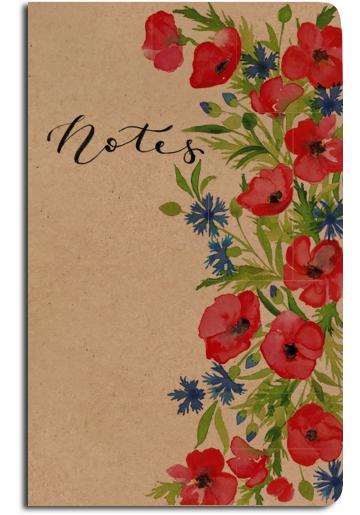 Notes linkovaný - A5 - kraft - chrpy