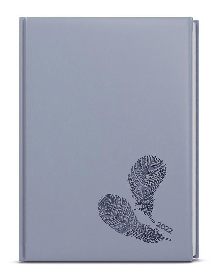 Denní diář - Adam - vivella s ražbou - B6 - holubí šeď - Pírka