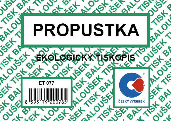 Propustka A7, 50 listů, BALOUŠEK, ET077