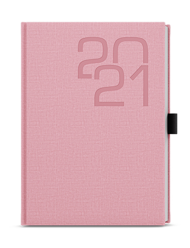 Denní diář - David - fabric - A5 - růžová, BALOUŠEK, BDD27-51