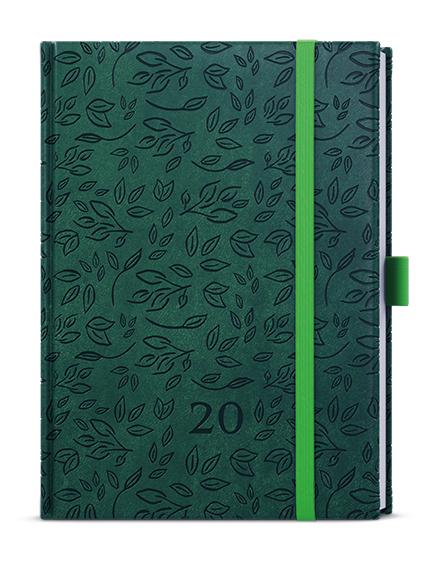Denní diář - Adam - vivella extra - B6 - tmavě zelená - Listy