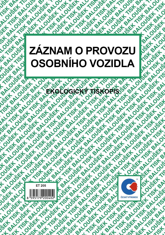 Záznam o provozu os.voz. A5 /stazka/, 50 listů, BALOUŠEK, ET205